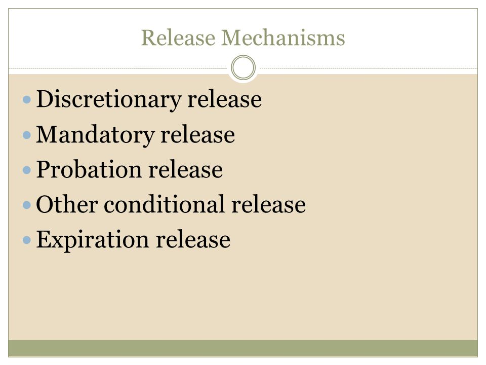 Discretionary release Mandatory release Probation release
