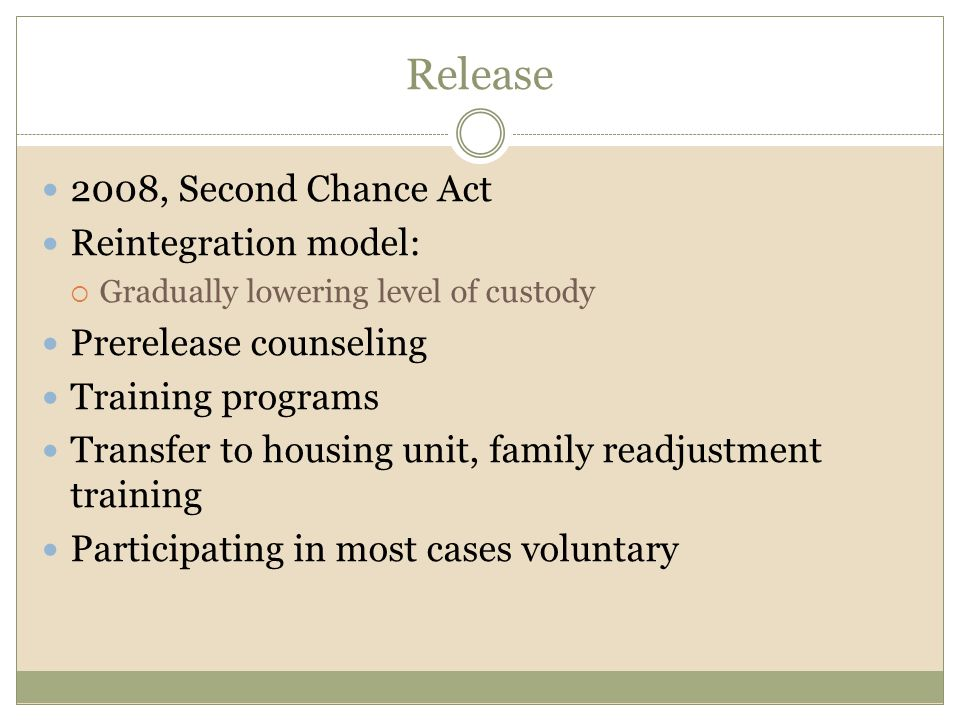 Release 2008, Second Chance Act Reintegration model: