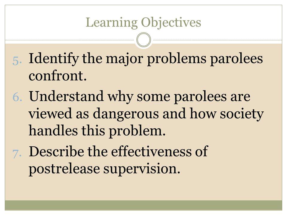 Identify the major problems parolees confront.