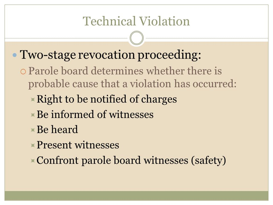 Technical Violation Two-stage revocation proceeding: