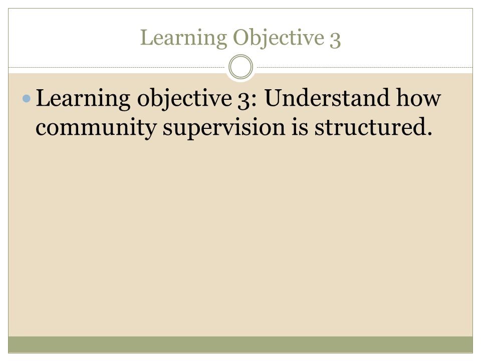 Learning Objective 3 Learning objective 3: Understand how community supervision is structured.