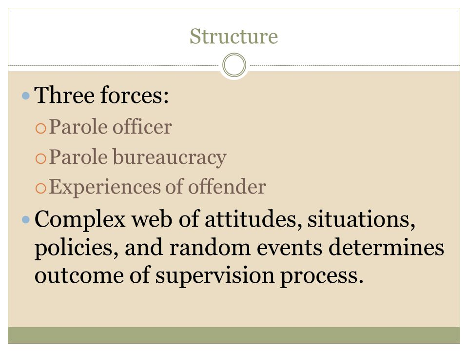 Structure Three forces: Parole officer. Parole bureaucracy. Experiences of offender.