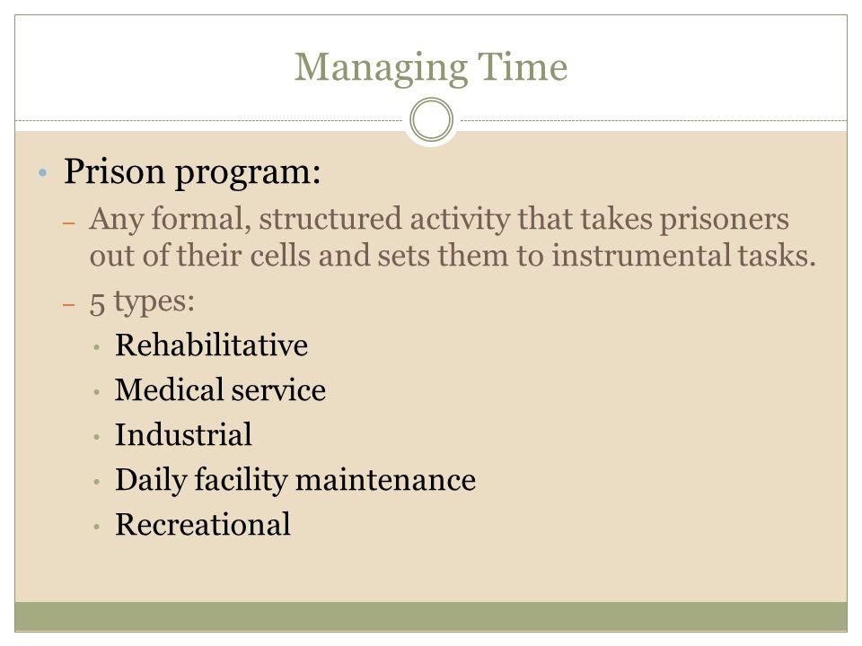 Managing Time Prison program: