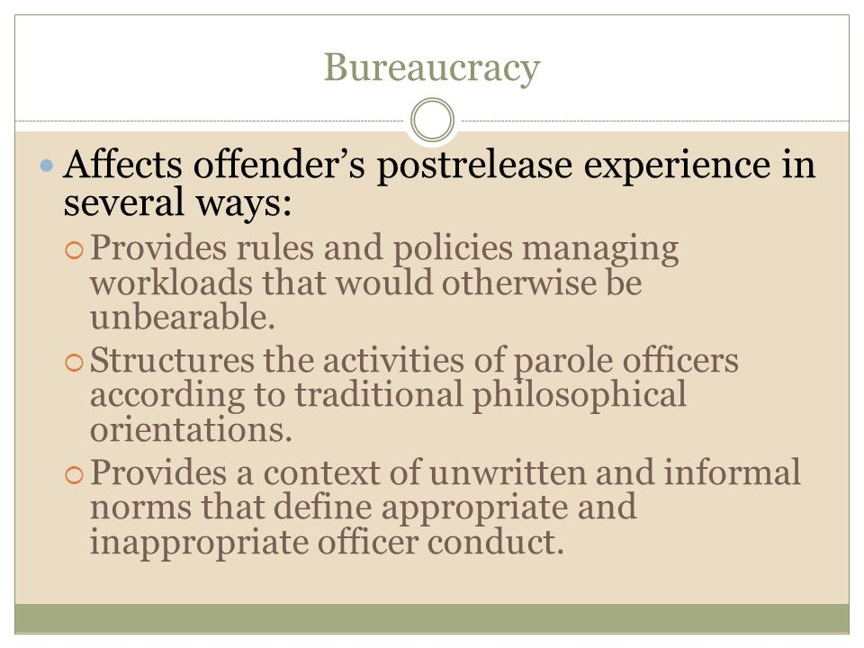 Affects offender's postrelease experience in several ways: