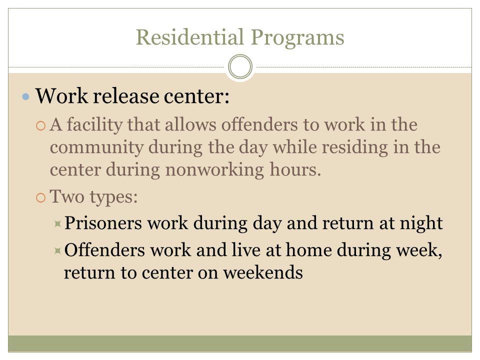 Residential Programs Work release center: