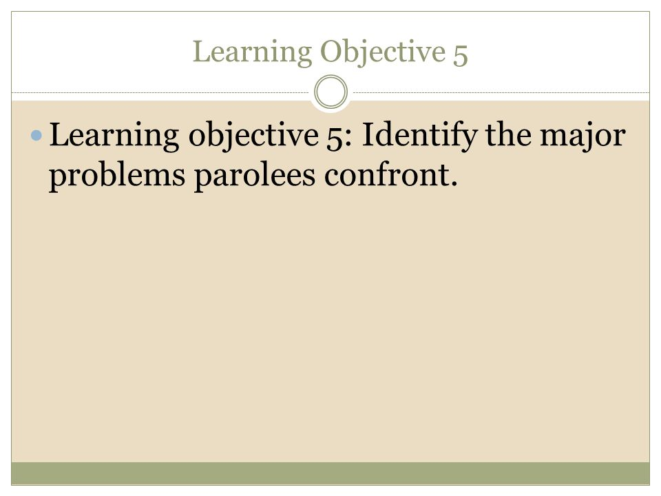 Learning objective 5: Identify the major problems parolees confront.