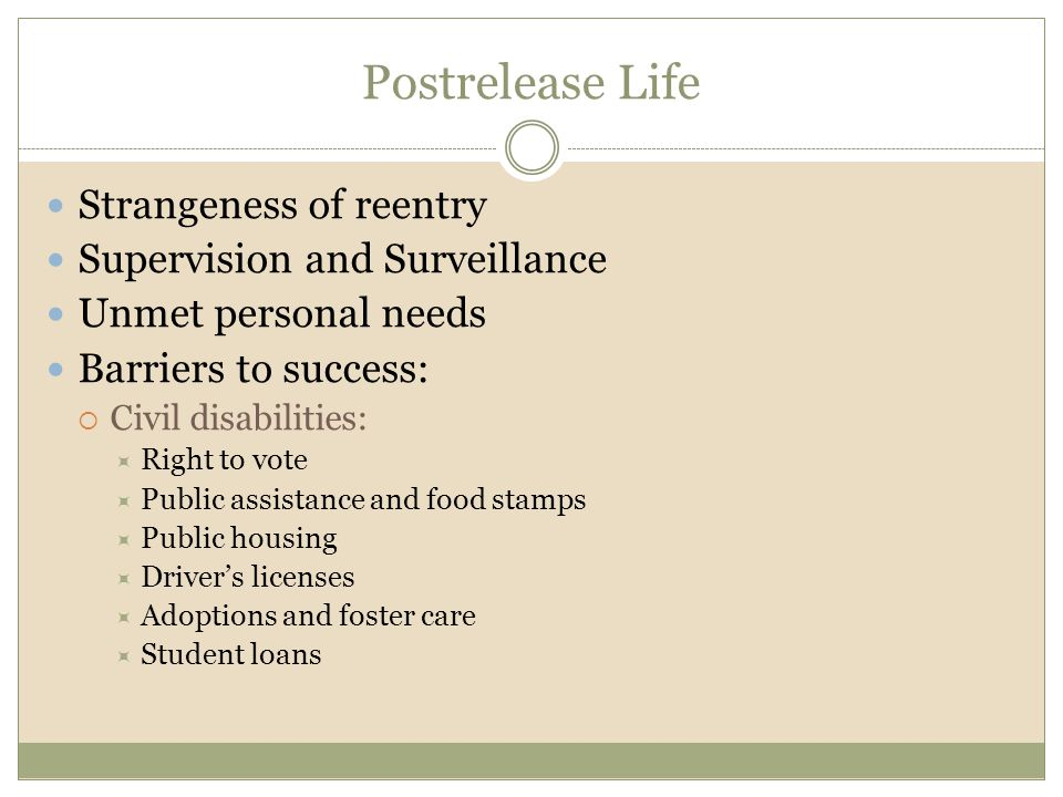 Postrelease Life Strangeness of reentry Supervision and Surveillance