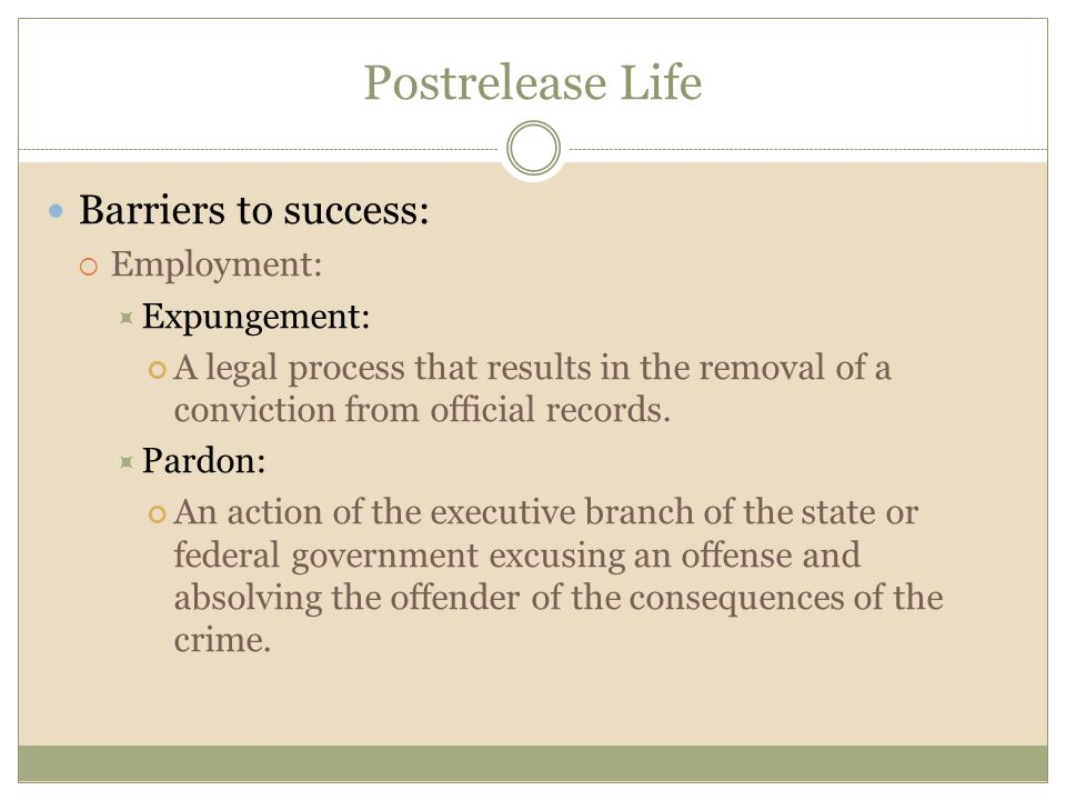 Postrelease Life Barriers to success: Employment: Expungement: