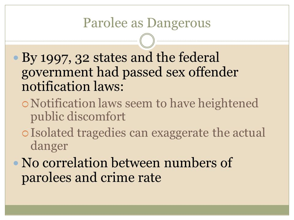 No correlation between numbers of parolees and crime rate