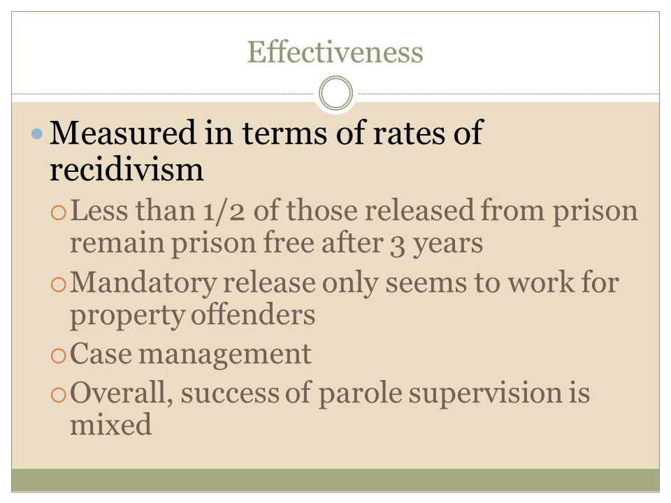 Measured in terms of rates of recidivism