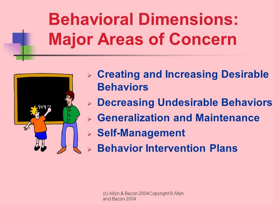 Behavioral Dimensions: Major Areas of Concern