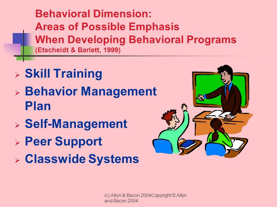 Behavior Management Plan Self-Management Peer Support