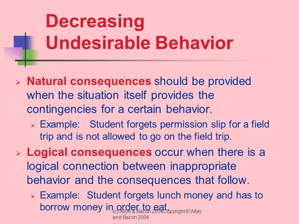 Decreasing Undesirable Behavior