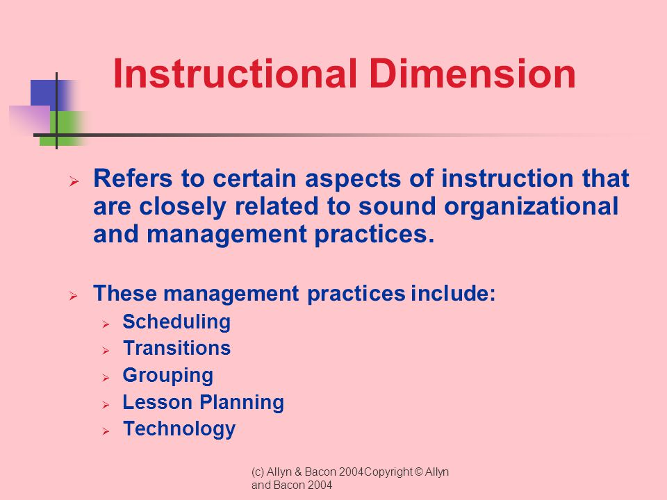 Instructional Dimension