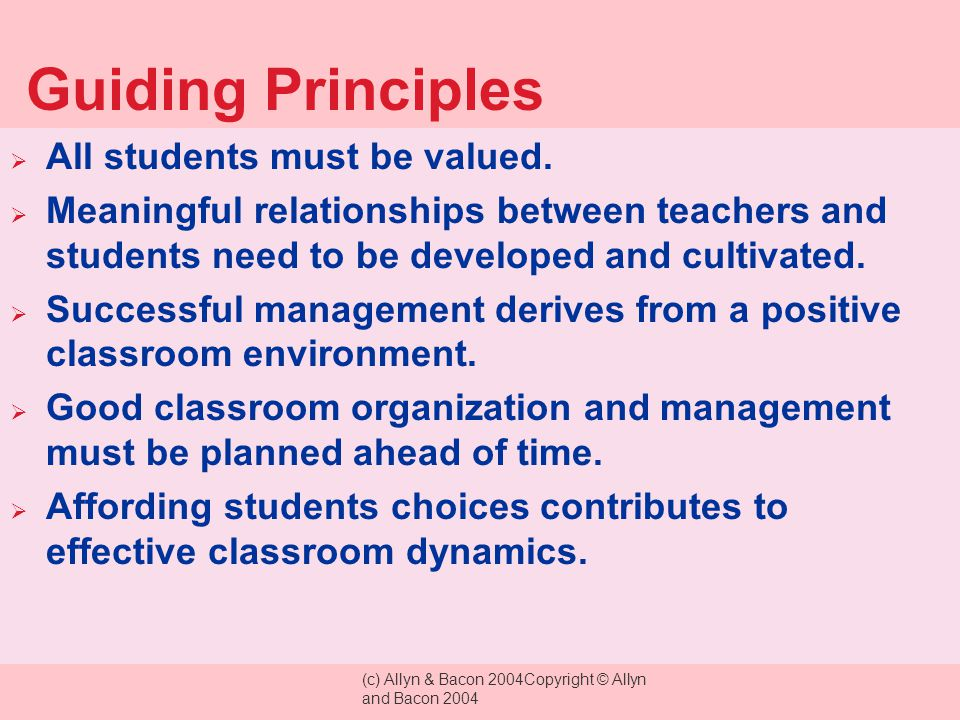 Guiding Principles All students must be valued.