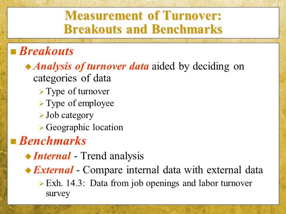 Measurement of Turnover: Breakouts and Benchmarks