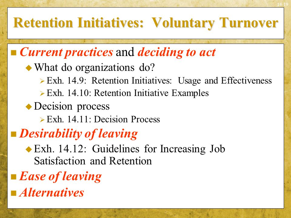 Retention Initiatives: Voluntary Turnover