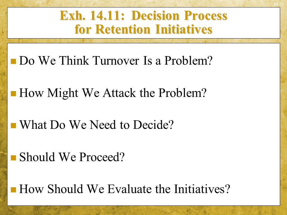 Exh : Decision Process for Retention Initiatives
