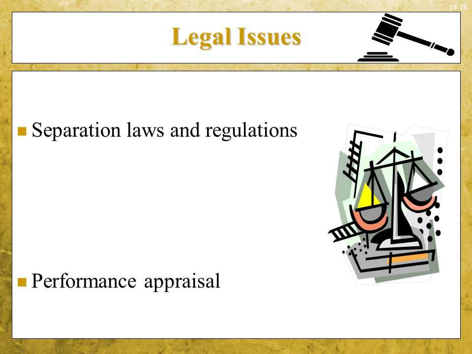 Legal Issues Separation laws and regulations Performance appraisal
