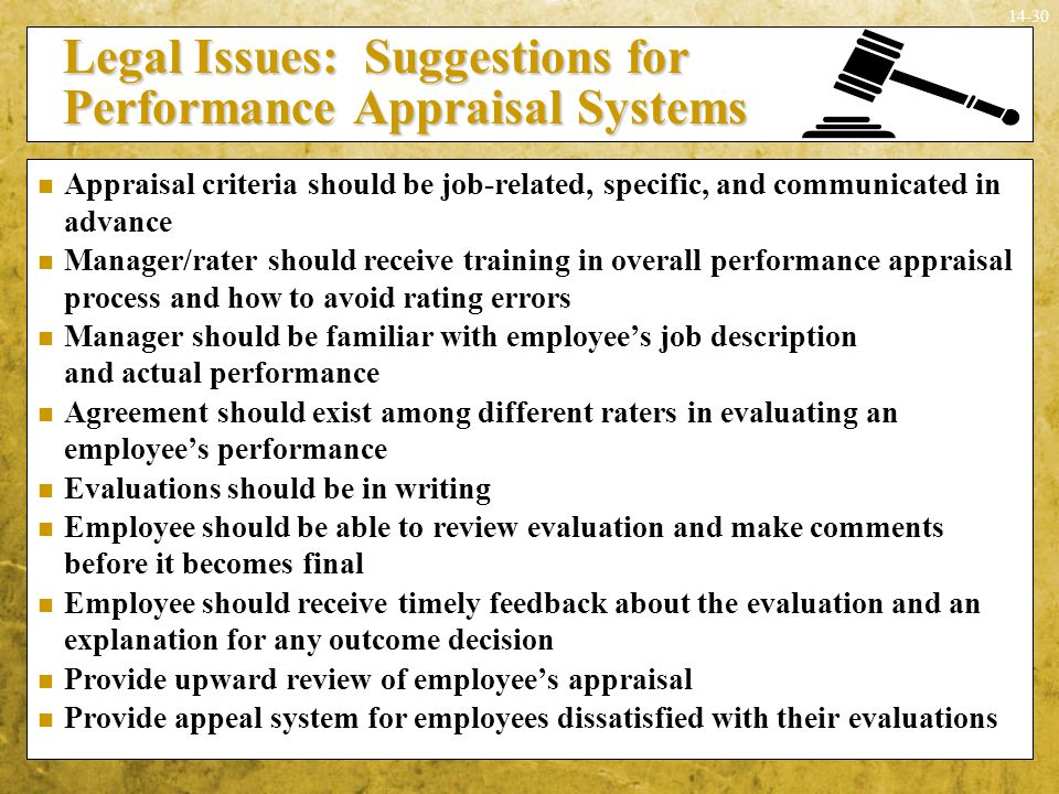 Legal Issues: Suggestions for Performance Appraisal Systems