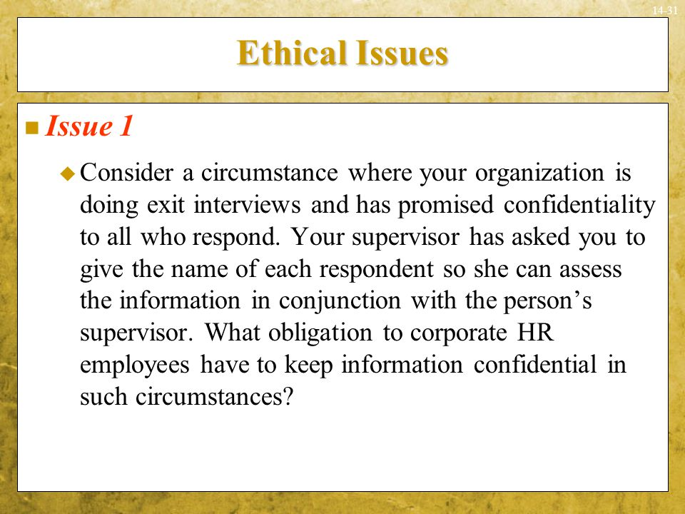 Ethical Issues Issue 1.