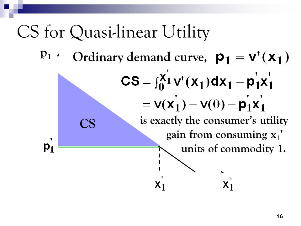 CS for Quasi-linear Utility