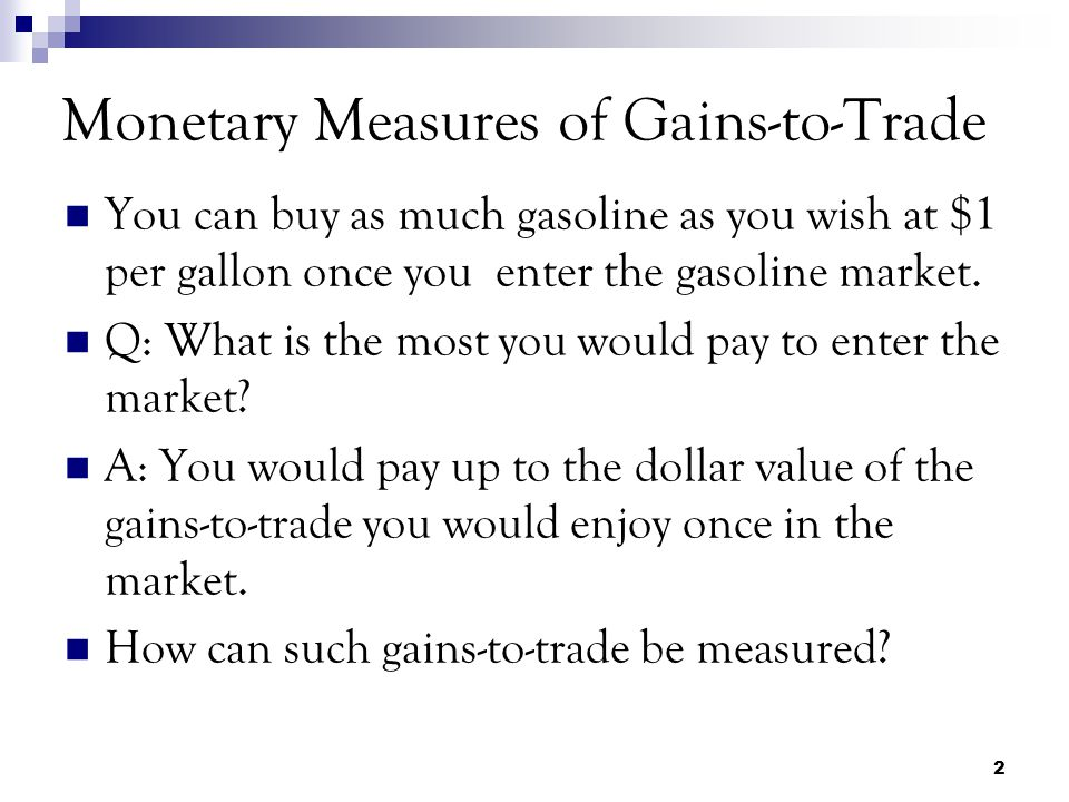 Monetary Measures of Gains-to-Trade