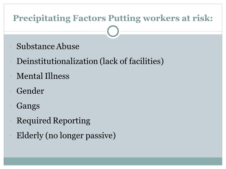 Precipitating Factors Putting workers at risk:
