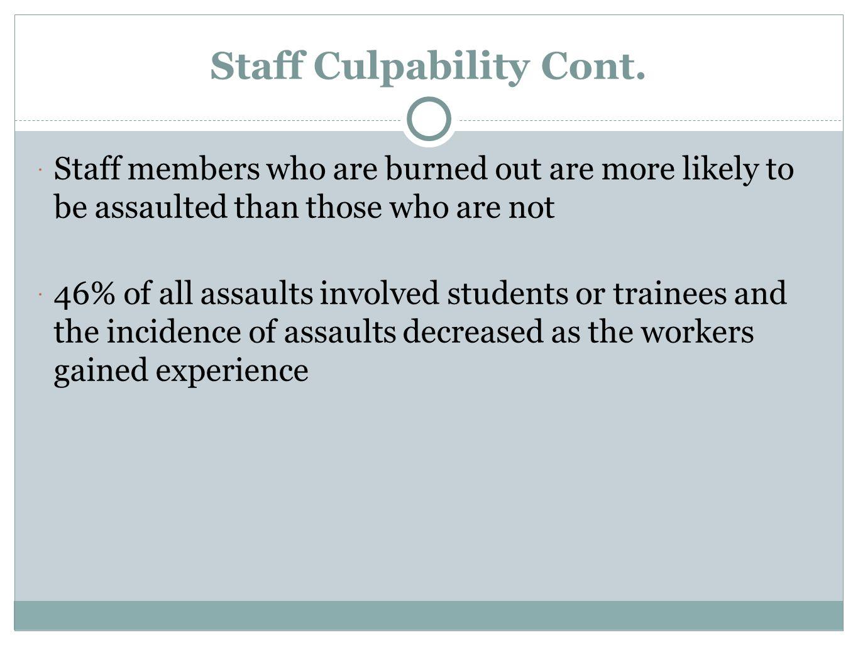 Staff Culpability Cont.