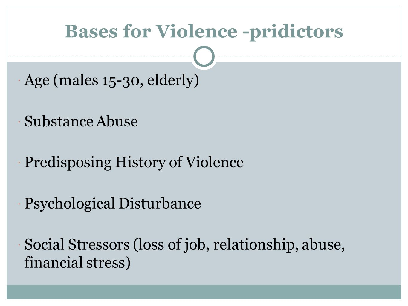 Bases for Violence -pridictors