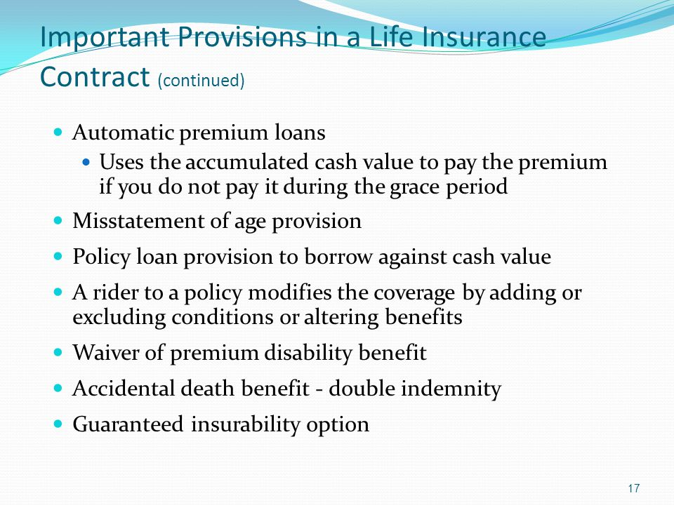 Important Provisions in a Life Insurance Contract (continued)