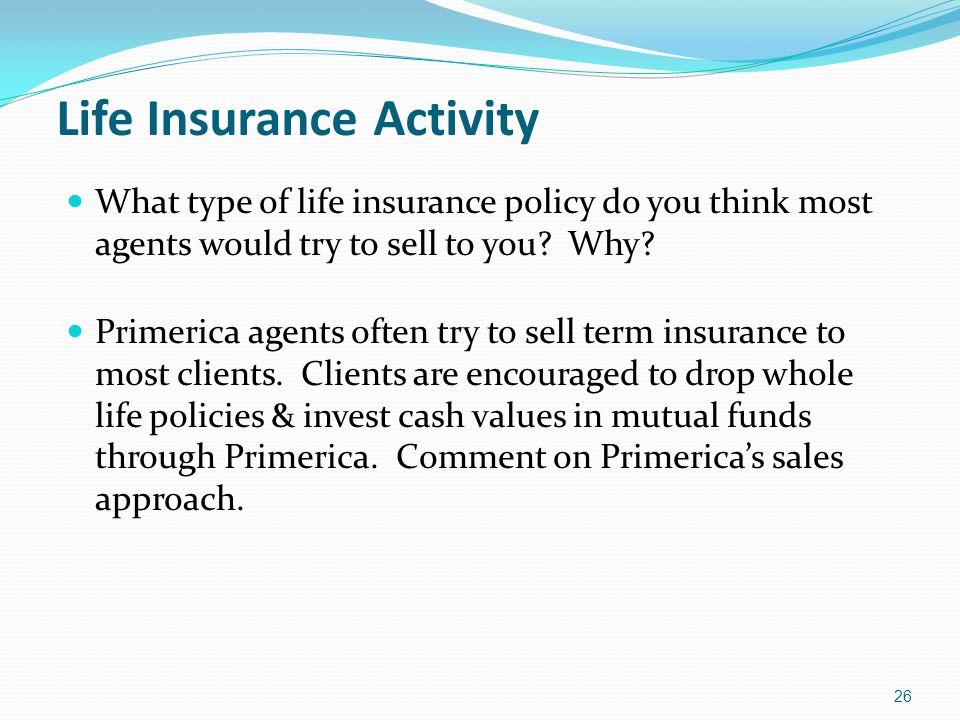 Life Insurance Activity