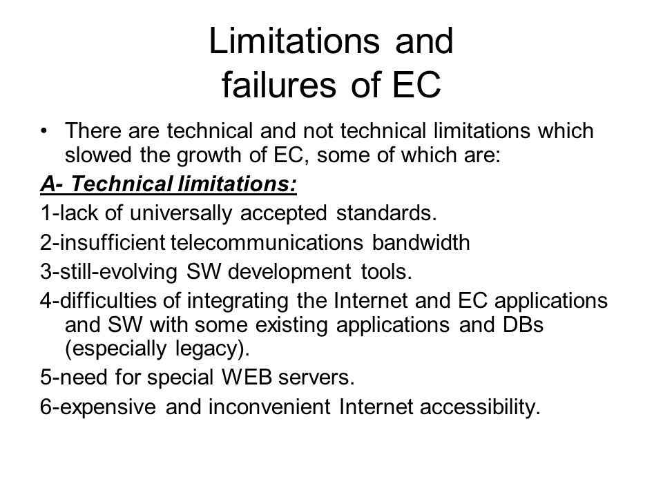Limitations and failures of EC