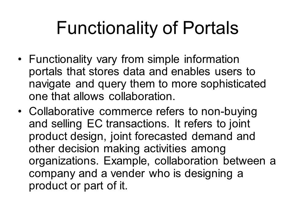 Functionality of Portals