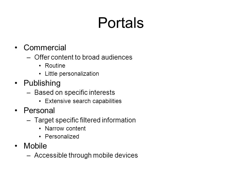 Portals Commercial Publishing Personal Mobile