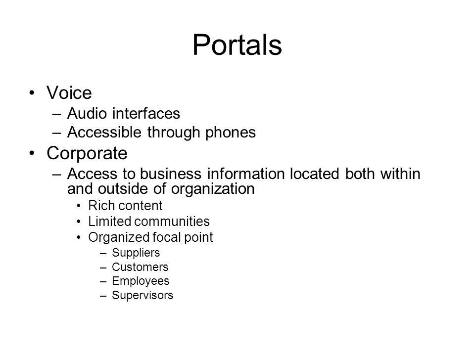 Portals Voice Corporate Audio interfaces Accessible through phones