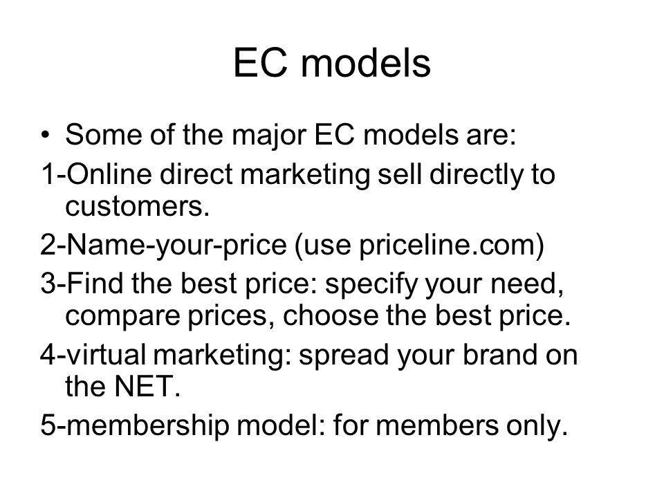 EC models Some of the major EC models are: