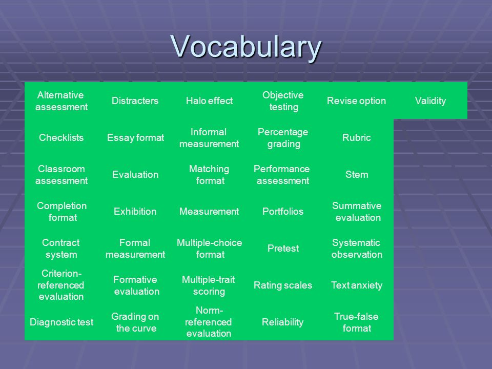 Vocabulary Alternative assessment Distracters Halo effect Objective