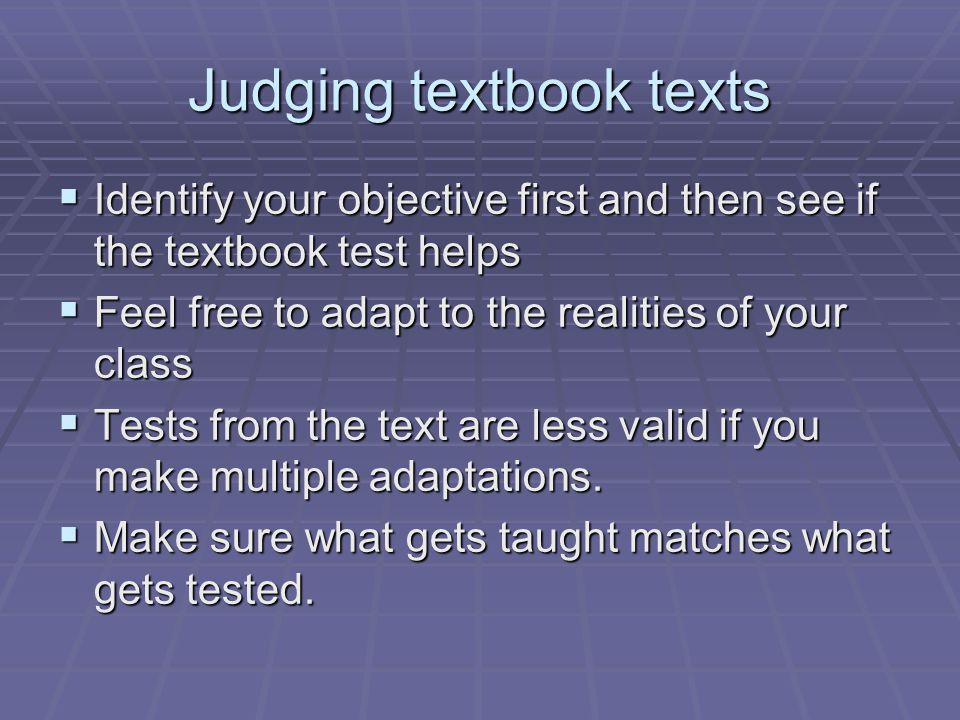 Judging textbook texts