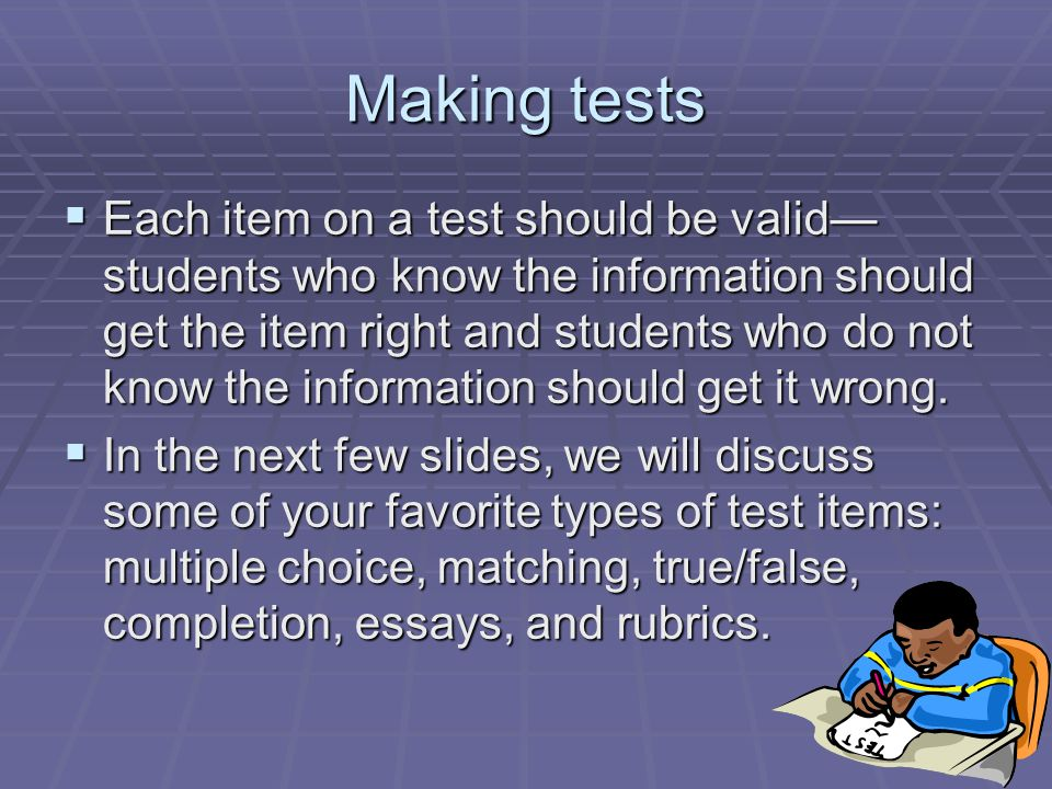 Making tests