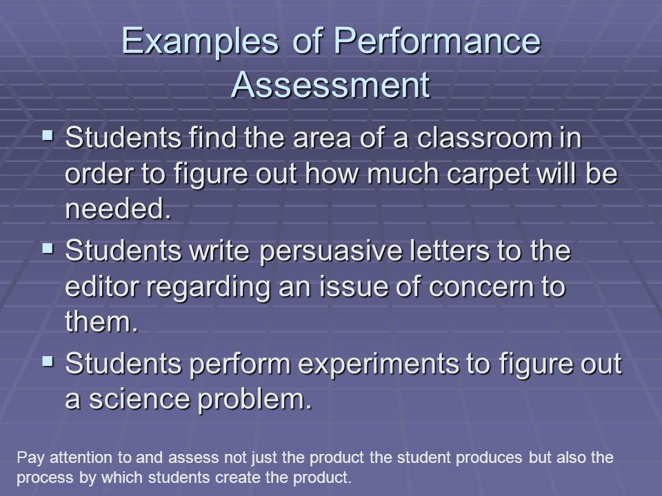 Examples of Performance Assessment