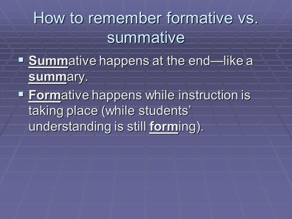 How to remember formative vs. summative