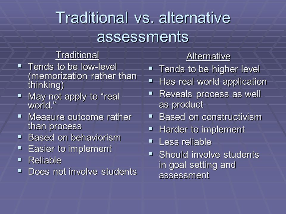 Traditional vs. alternative assessments