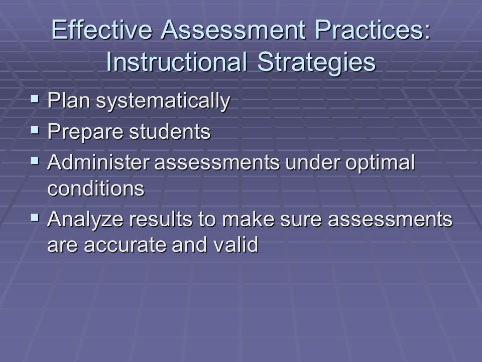 Effective Assessment Practices: Instructional Strategies
