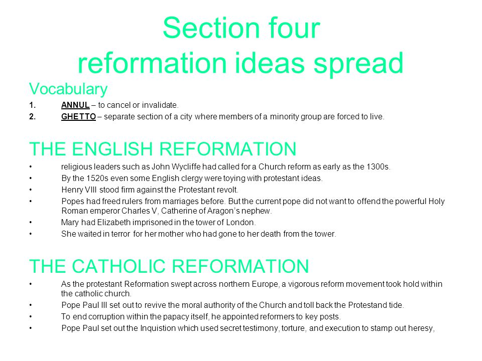Section four reformation ideas spread