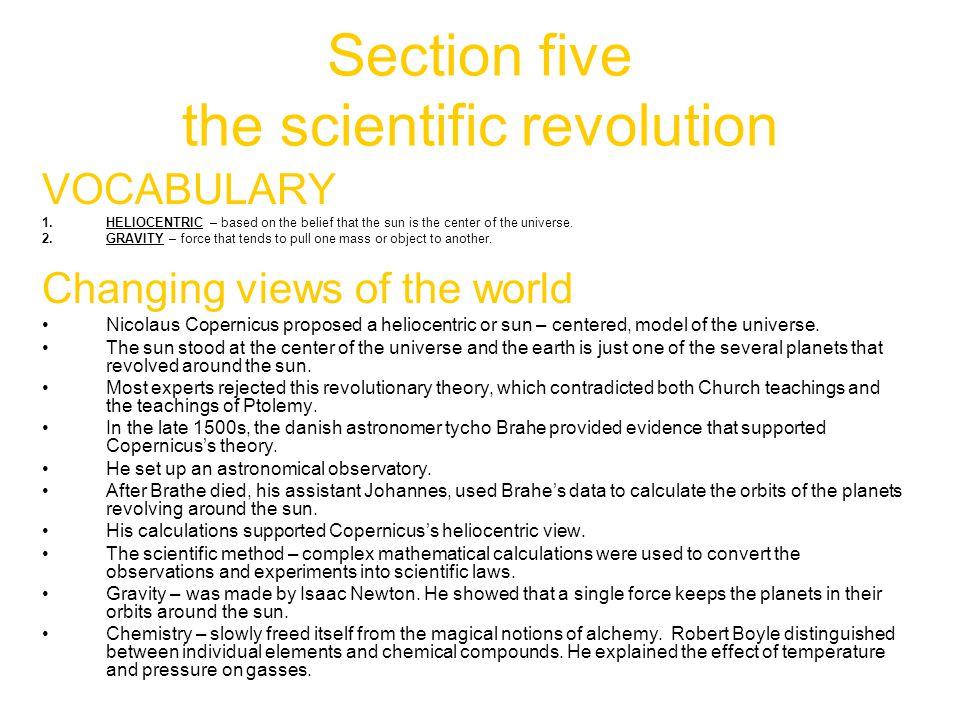 Section five the scientific revolution