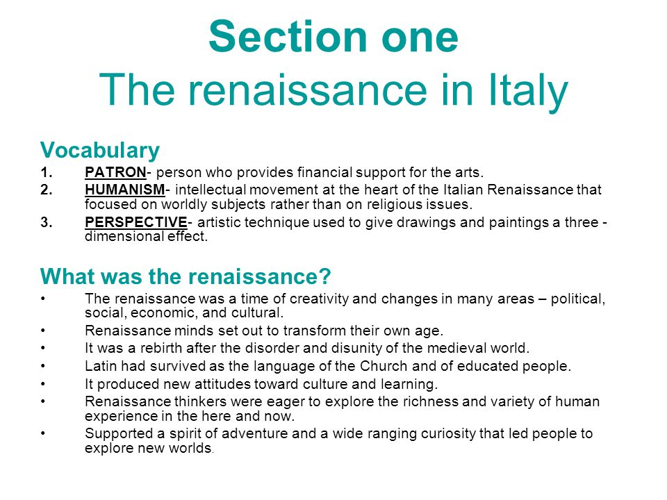 Section one The renaissance in Italy