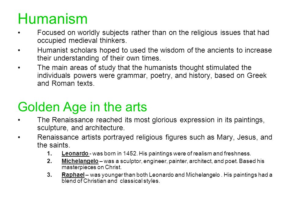 Humanism Golden Age in the arts