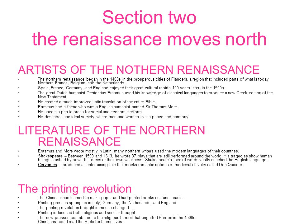 Section two the renaissance moves north