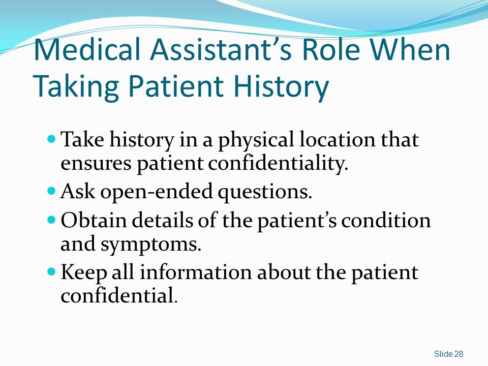Medical Assistant's Role When Taking Patient History